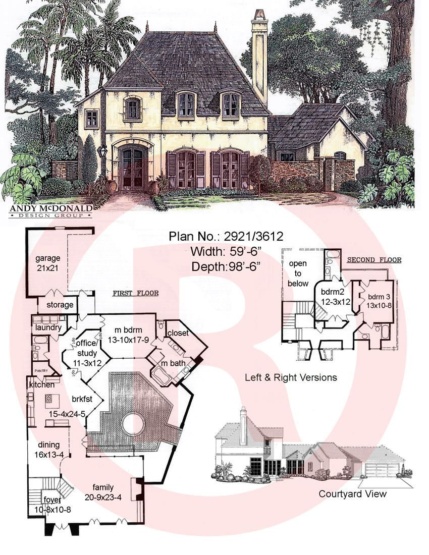 French Cottage House Plan With Courtyard 3 Bed 3 Bath Really