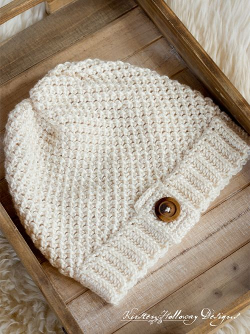 Easy Double Seed Stitch Crochet Slouch Hat Pattern - 3 Sizes - Kirsten Holloway Designs #crochethatpatterns