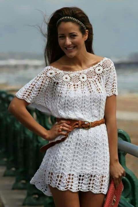 Pin by aida villalobos on vestidos crochet pinterest crochet make shorter for a crochet shirt tunica croche dt1010fo