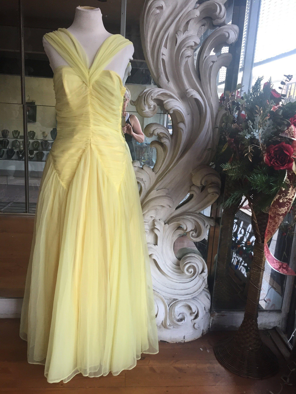 Vintage s yellow taffeta u chiffon formal prom dress bust