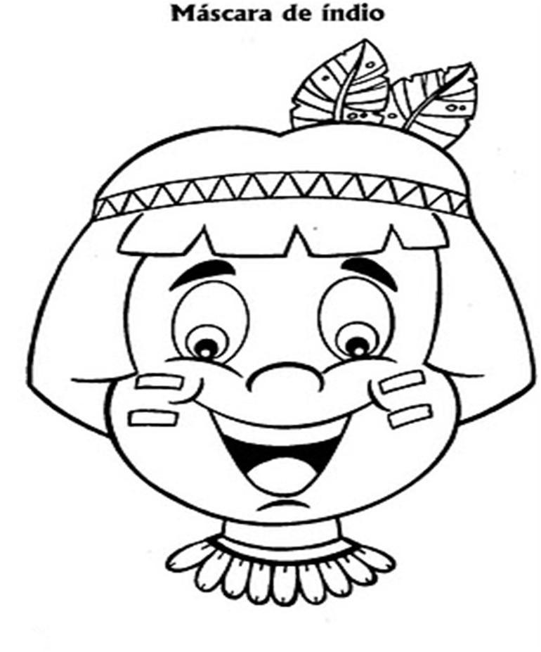 mascara de indio | DIBUJOS PARA COLOREAR, LABERINTOS, PUNTOS ...