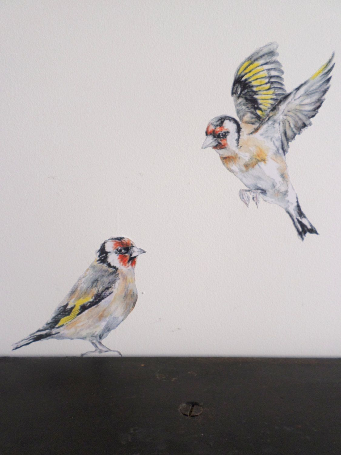 Wall Sticker Goldfinches Pair Bird Decor Bird Gifts Watercolor