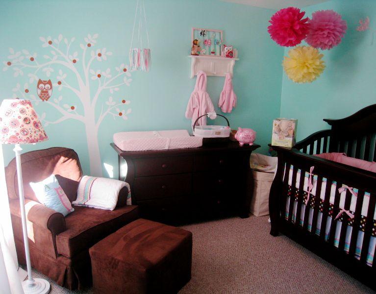 Pink Rug Turquoise Walls Brown Furniture Bedroom Designs