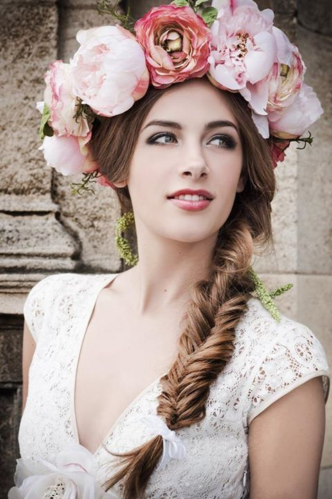 floral headpiece floral headband summer hair Layers of Pink Ranunculus Crown flower headband Floral crown flower crown headpiece