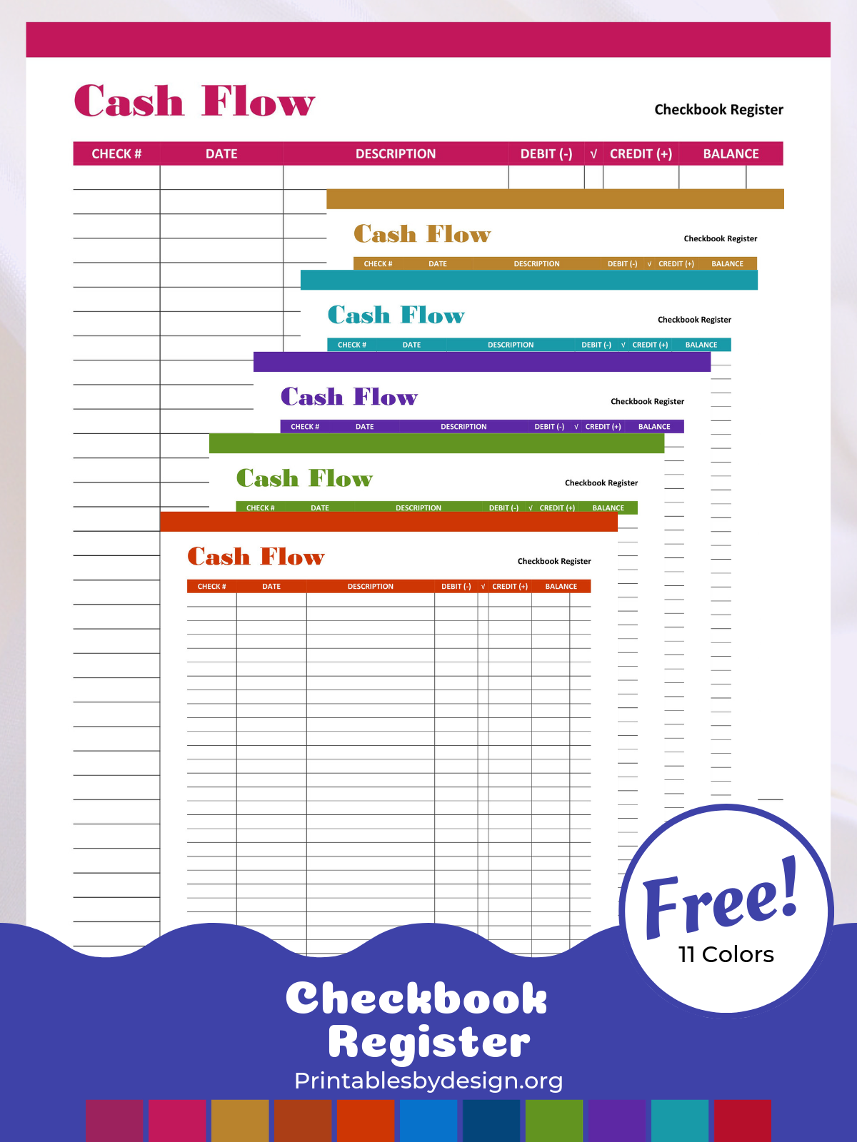 Checkbook Register Printables By Design