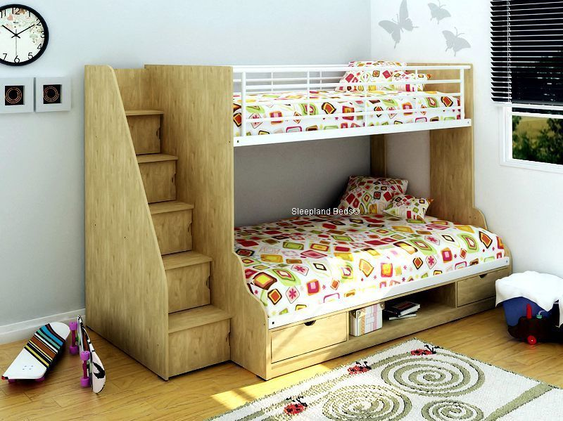 Best Trio Bunk Bed With Storage Staircase 3Ft Single 4Ft 640 x 480