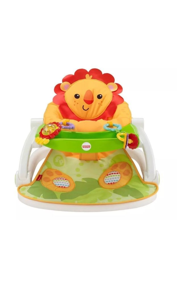 Fisher Price Sit Me Up Floor Seat With Tray Yellow Fabric Lion