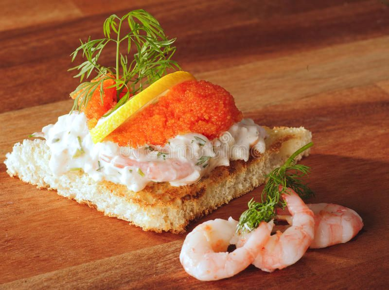 Toast Skagen stock photo. Image of delicacy, fresh, soft - 20949306