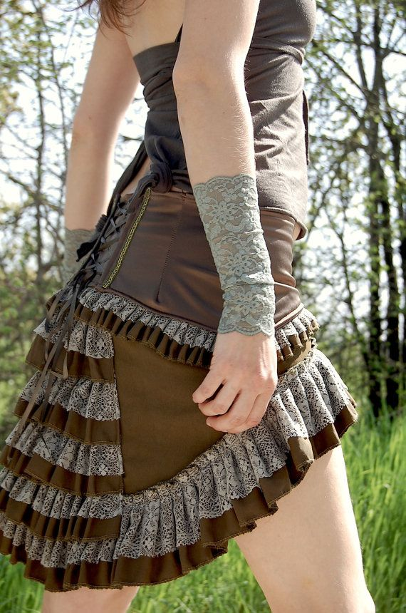Steampunk bustle skirt Olive green elastic satin belt with olive green cotton base and soft forest green lace <3