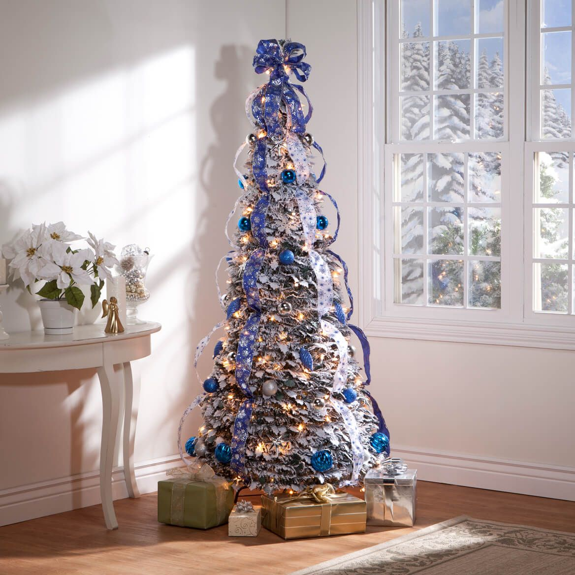 6 Foot Fully Decorated Flocked Pull Up Tree Collapsible Christmas Tree Christmas Tree Pallet Christmas Tree