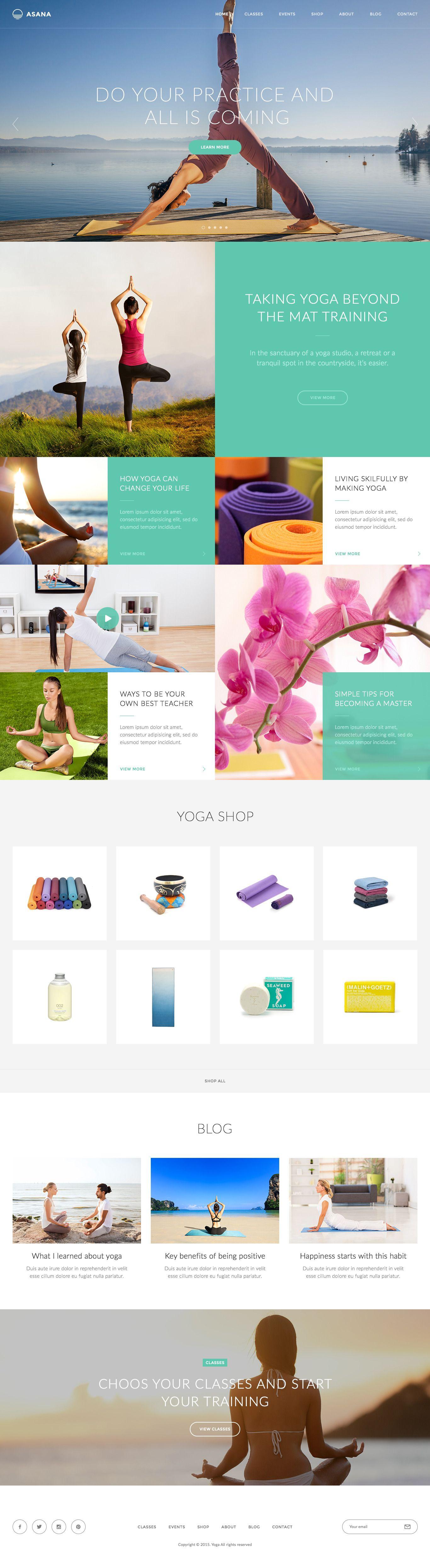 Asana - Sport and Yoga PSD Template | YOGA WEBSITE | Pinterest ...