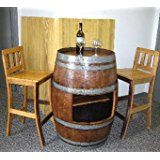 """Oak Wood Wine Barrel Bar Table Base with Shelf Opening to Use with Sht-48, 26""""d X 35""""h"""