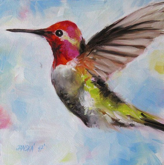 Hummingbird Oil Painting Birds Original Art Christmas Gifts Birthday