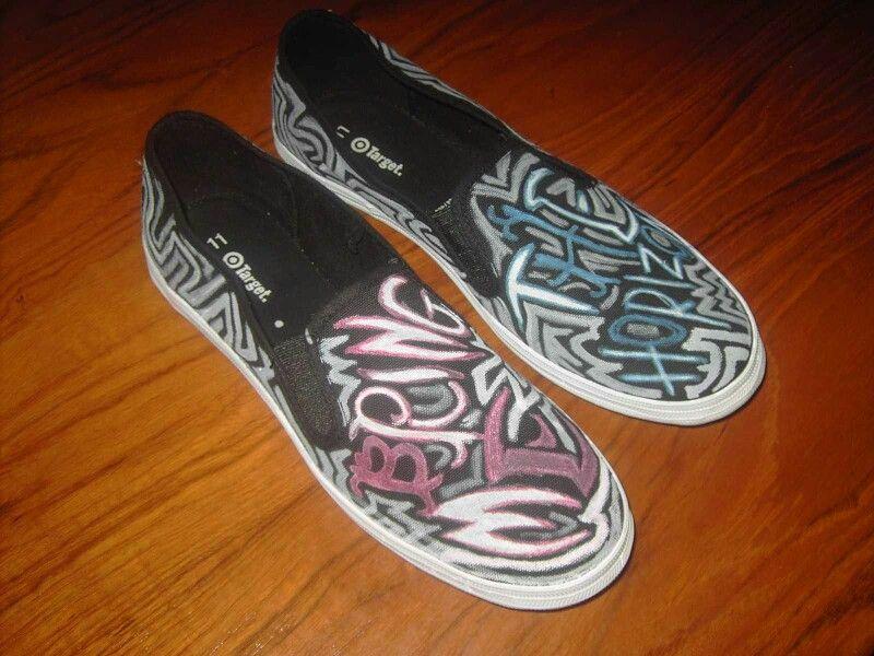 BMTH Owl Vans slip ons | Black slip on sneakers, Vans slip
