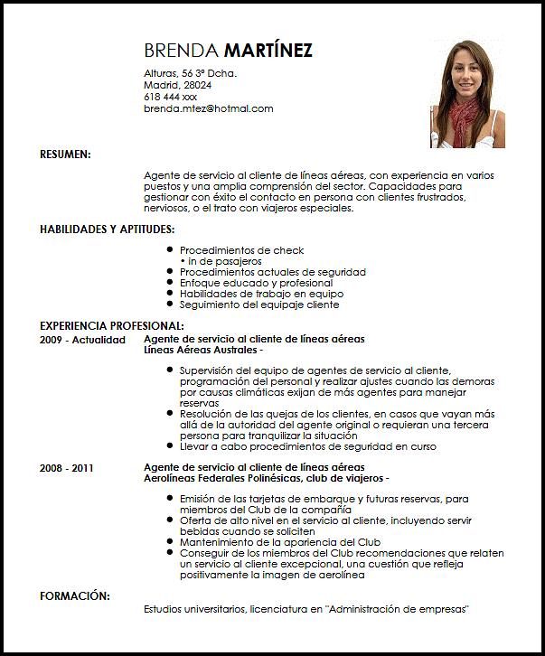 Modelo Cv Agente De Servicio Al Cliente En Aerolíneas Livecareer Modelos De Curriculum Vitae Curriculum Ejemplo Curriculum Vitae