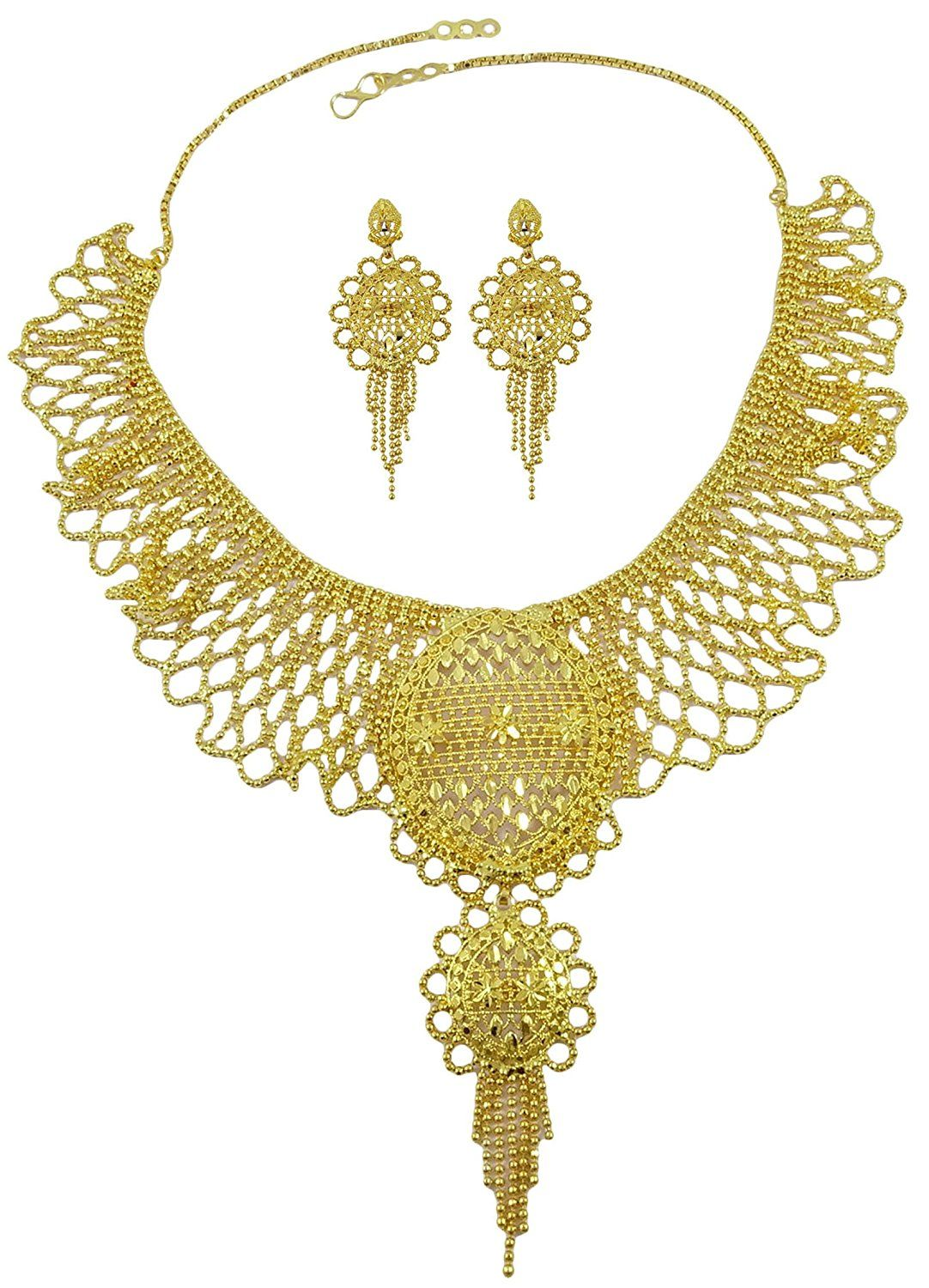 Official Website 18k Goldplated Indian Women 2pcs Necklace Earring Set Traditional Party Jewelry Bridal & Wedding Party Jewelry Engagement & Wedding