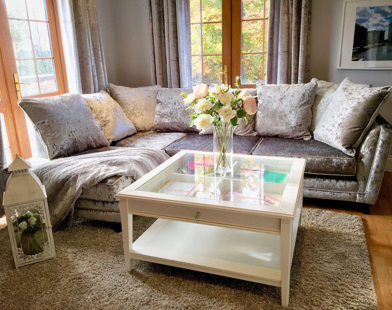 Crushed Velvet Corner Sofa From Dfs Aœ Ikea Glass Coffee Table Coffee Table Crushed Velvet Living Room Velvet Living Room [ 1017 x 1286 Pixel ]