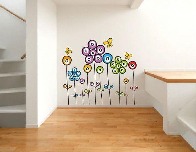 Un bonito motivo floral realizado en vinilo para decorar for Vinilo blanco pared