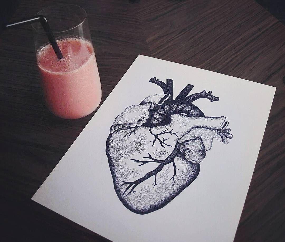 """Hvis dit hjerte er på det rette sted, så følger resten automatisk med""  #art #drawing #artist #illustration #artwork #instaart #ink #creative #pen #white #black #dotwork #dots #blackwork #kunst #tegning #heart #hjerte #flashaddicted"