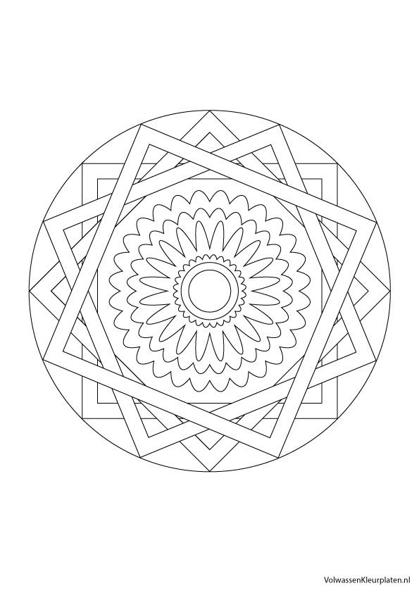 Volwassen Kleurplaten Mandala.Volwassen Kleurplaat Mandala 2 Volwassen Kleurplaten