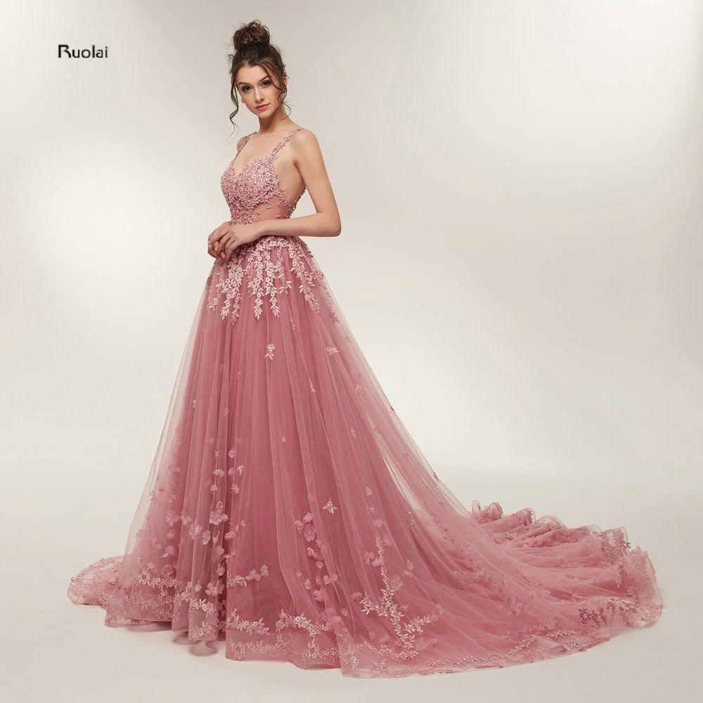 cbb31c85732 Hot Sale Gorgeous Prom Dresses 2018 Long Train A line Lace Appliques  Sleeveless Evening Party Dress Formal Dress Robe de Soiree Review