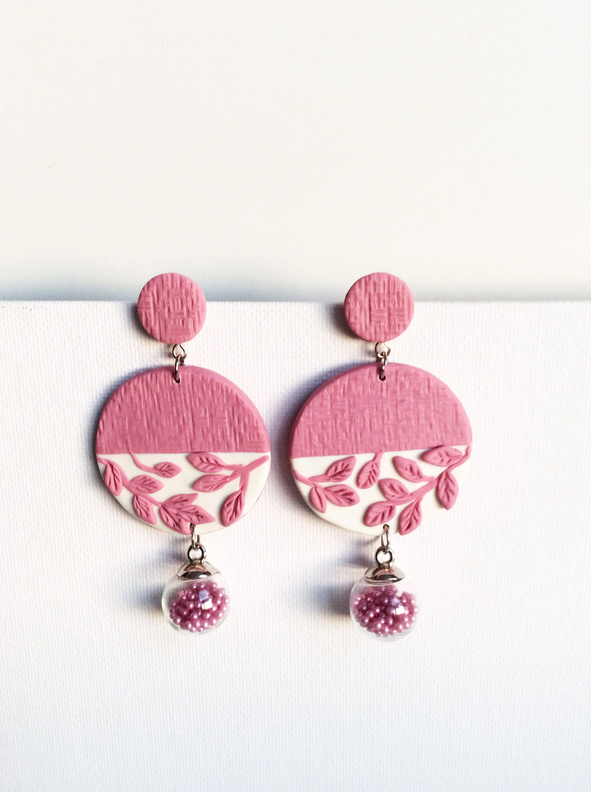 pink and red polymer clay earrings in floral with vase  Abstract earrings  Gifts for her  Statement earrings White
