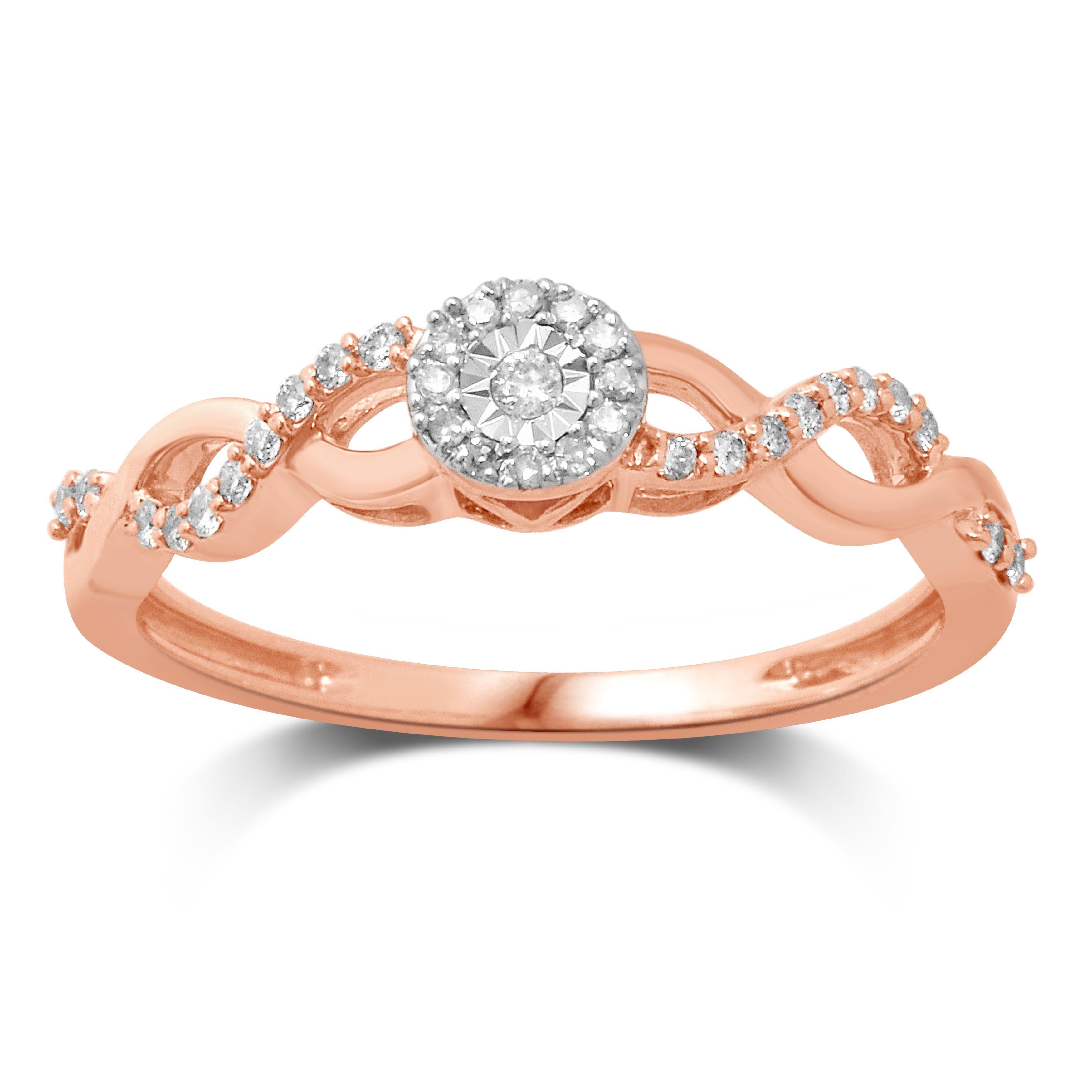 Unending Love 10k Rose Gold 1 6ctw Diamond I J Color I2 I3 Clarity Promise Ring Rose Gold Promise Ring Custom Moissanite Engagement Ring Gold Promise Rings
