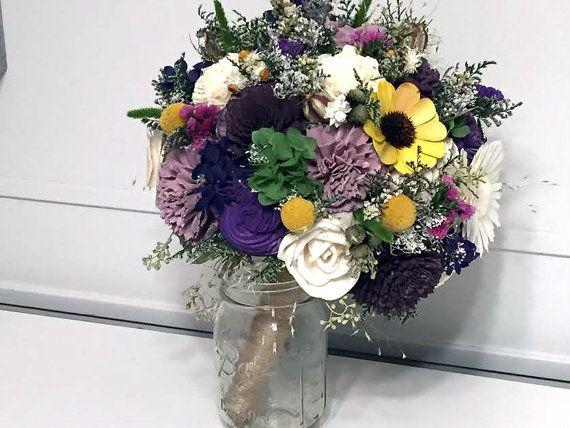 sola flowers Alternative bridal bouquet Purple Custom colors eggplant rustic lavender and Sunflower Wedding Bouquet bridesmaids