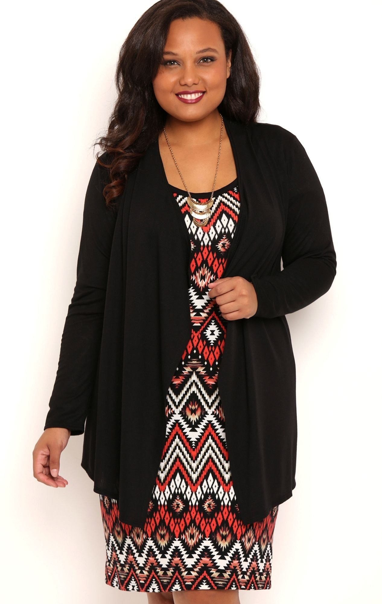deb junior plus size long sleeve knit cardigan with waterfall