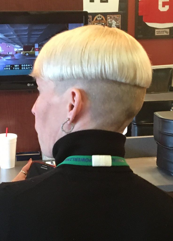 Blonde Two Tone Shaved Nape Bowlcut With Turtleneck And