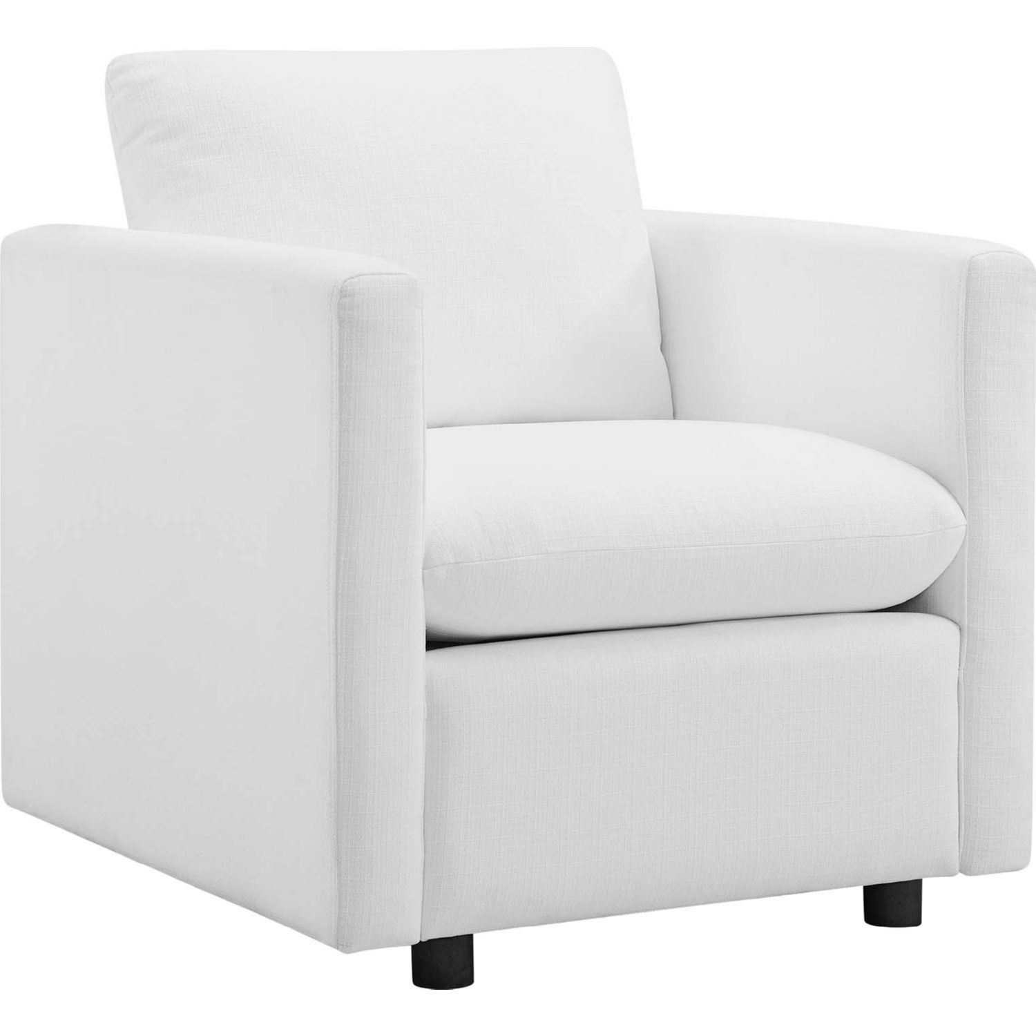 Modway Activate Arm Chair White Fabric Black Legs