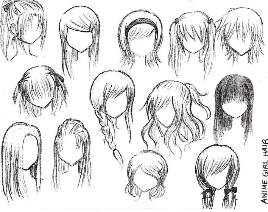 How To Draw Female Anime Hairstyles Anime Character Drawing Manga Hair Cartoon Hair