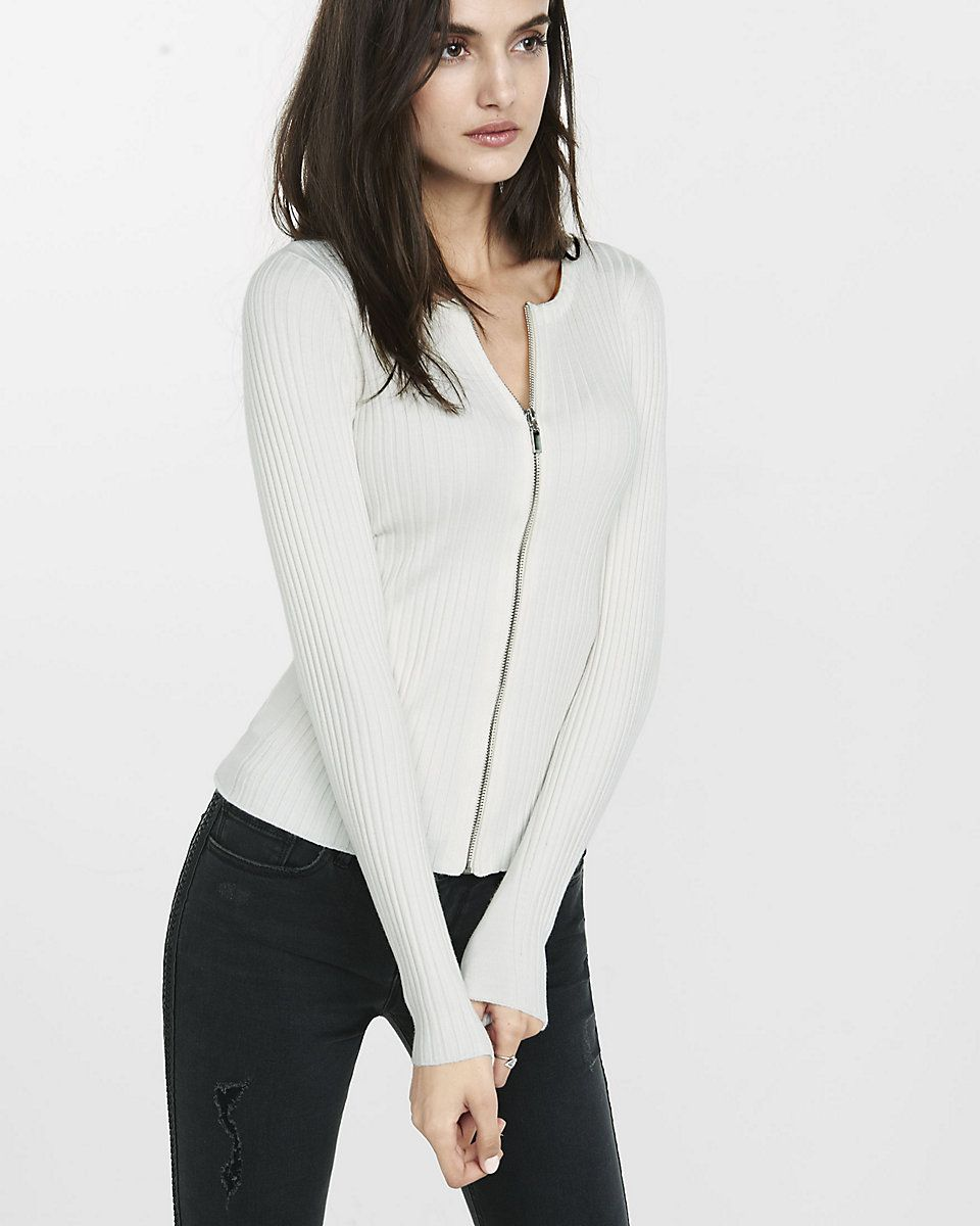 ribbed zip-front cardigan | Sweaters | Pinterest | Zip, Feminine ...