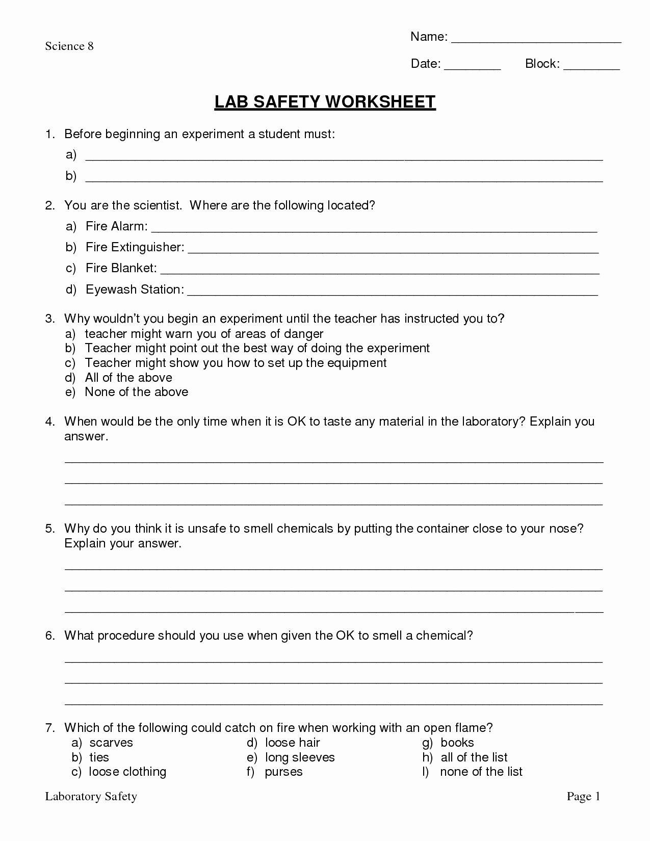 50 Lab Safety Symbols Worksheet In With Images