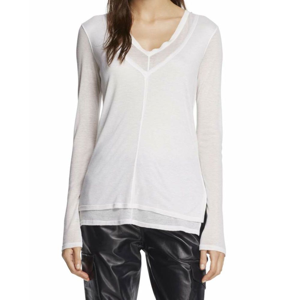 a46ec0a0032 Rag and Bone Freya White Longsleeve V-Neck T-Shirt  love  white  red ...