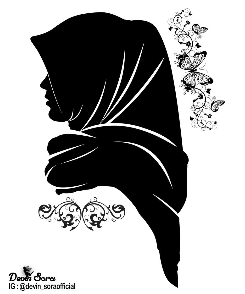 Hijab Silhouette Png : hijab, silhouette, Silhouette, Hijab, Drawing,, Woman, Islamic, Paintings