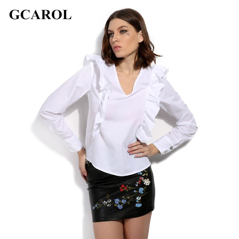 GCAROL 2017 Women V-Neck Ruffles Blouse Neat White OL Fashion ...