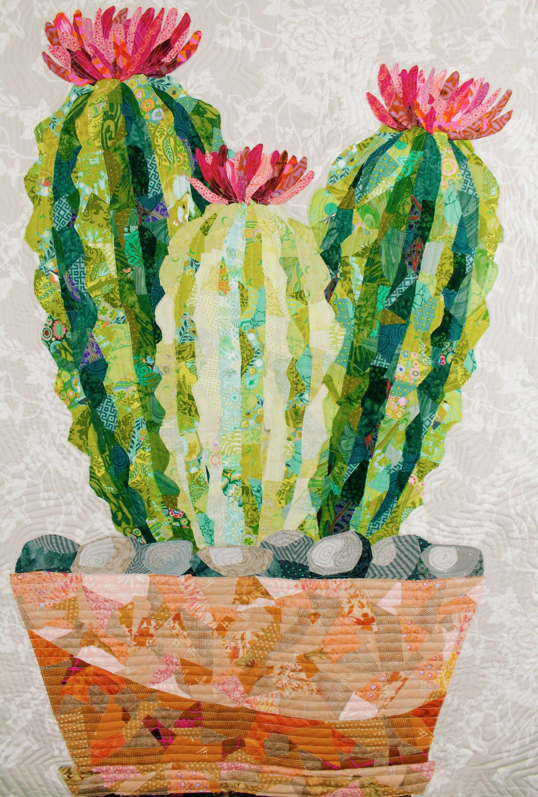 Cactus Tutorial Flower Quilts Paper Collage Art Quilt Patterns