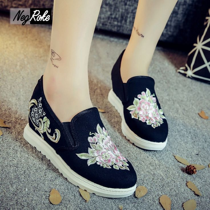 Tendance Chaussures 2017/ 2018 : 23.80$ Buy here - alizpe.shopchina.... -  Embroidered shoes woman flats Retro Ch... - Vogue Tunisie | Maroc | Algérie  ...