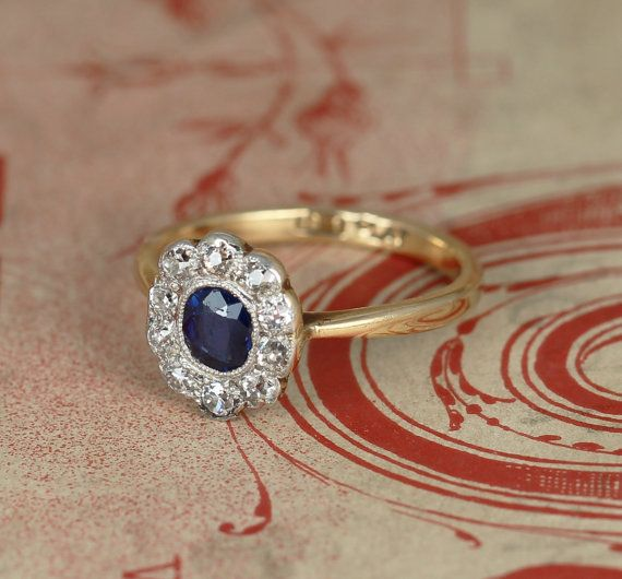 Edwardian Sapphire and Diamond Cluster by HOLTSJewellery on Etsy