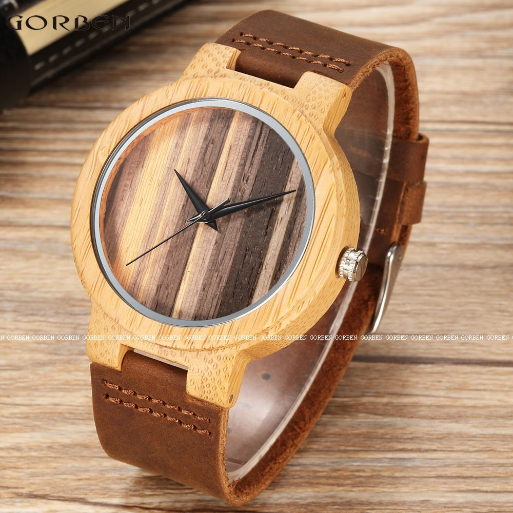14.24$  Buy here - http://alincq.shopchina.info/go.php?t=32761552463 - Vintage Natural Bamboo Quartz Mens Watches Natural Wooden Dial Retro Unique Cow Leather Band Fashion Men's WristWatches Gift Set 14.24$ #aliexpressideas