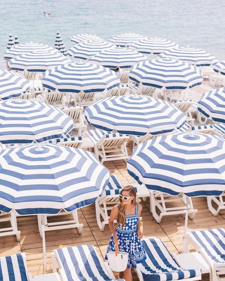 Endless sea of blue & white   Image via Gal Meets Glam