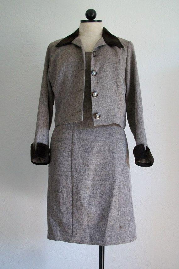 34009da95217 Farouche by Lori Weidner Herringbone Suit Dress w  Crop Jacket Size 6 by  VintageHagClothing