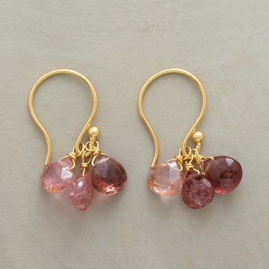 "PINK RAIN EARRINGS -- Tourmaline briolettes in shades of pink drip prettily from French wires. A Sundance exclusive in 14kt goldplate. 7/8""L."