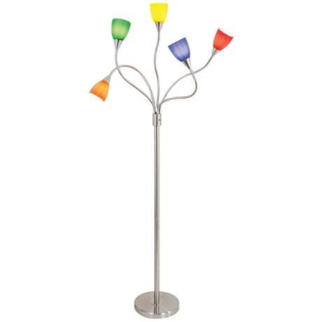 Multi color glass 5 arm floor lamp for webster house for Multiple gooseneck floor lamp