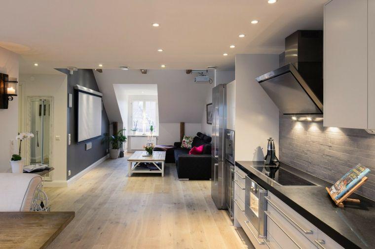 Esempio per mansarda open space con cucina moderna bianca con top
