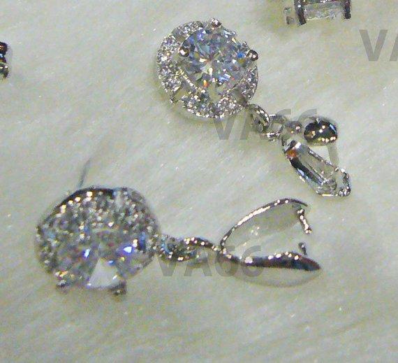 707964e91bbfd3 DIY Round Carat White Gold Plated CZ Stud Earrings Diamond Cut 1 Big Small  CZ stones Cubic Zirconia