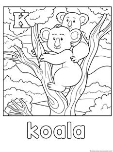 Animal Alphabet Coloring Pages Letters G L Homeschool Koala Coloring Page