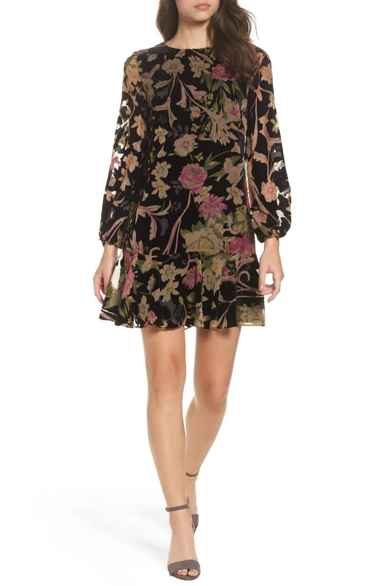 8e74957a4c9fb A moody floral print and lush burnout-velvet fabric conspire to make this  ruffle-hem shift dress ideal for your next special event.