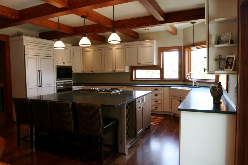 Stained Trim, White Cabinets